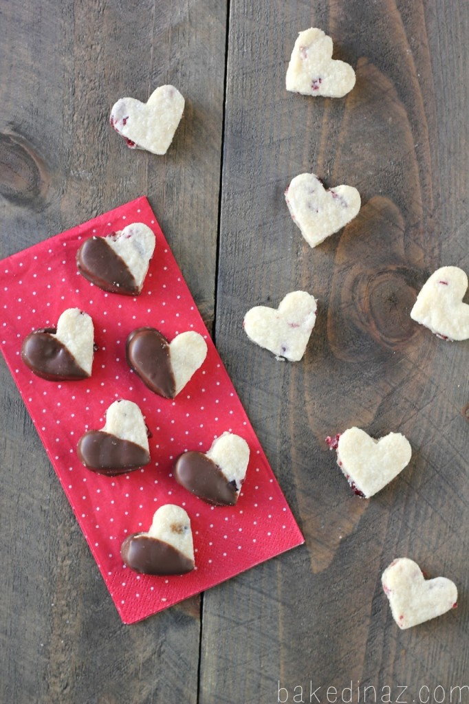 Dried Cranberry Shortbread Hearts | Baked in AZ