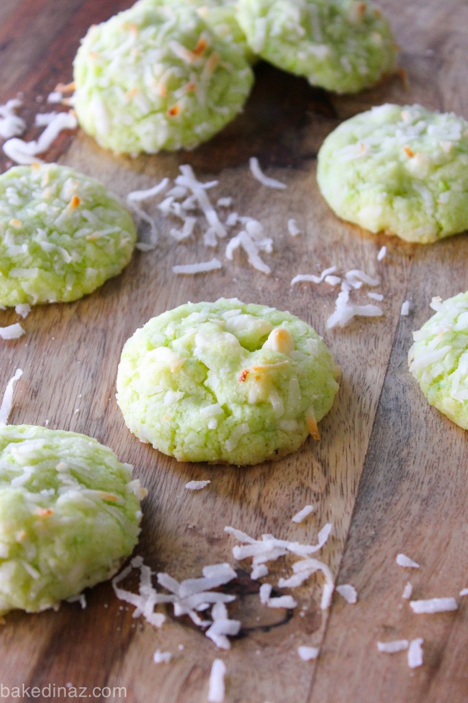 Key Lime Cookies with coconut & white chocolate chips - made with coconut oil!