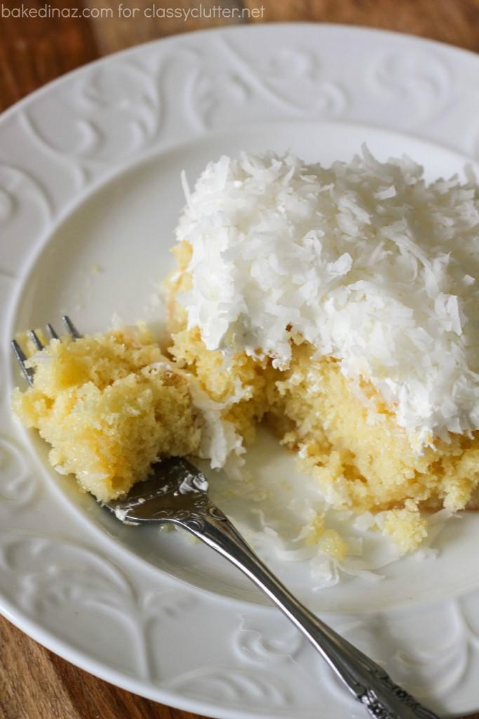 coconut poke cake fork
