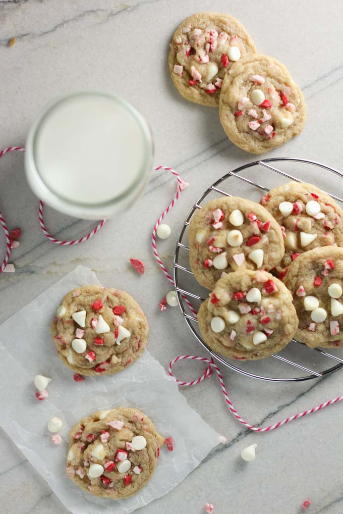 White Chocolate Peppermint Crunch Cookies