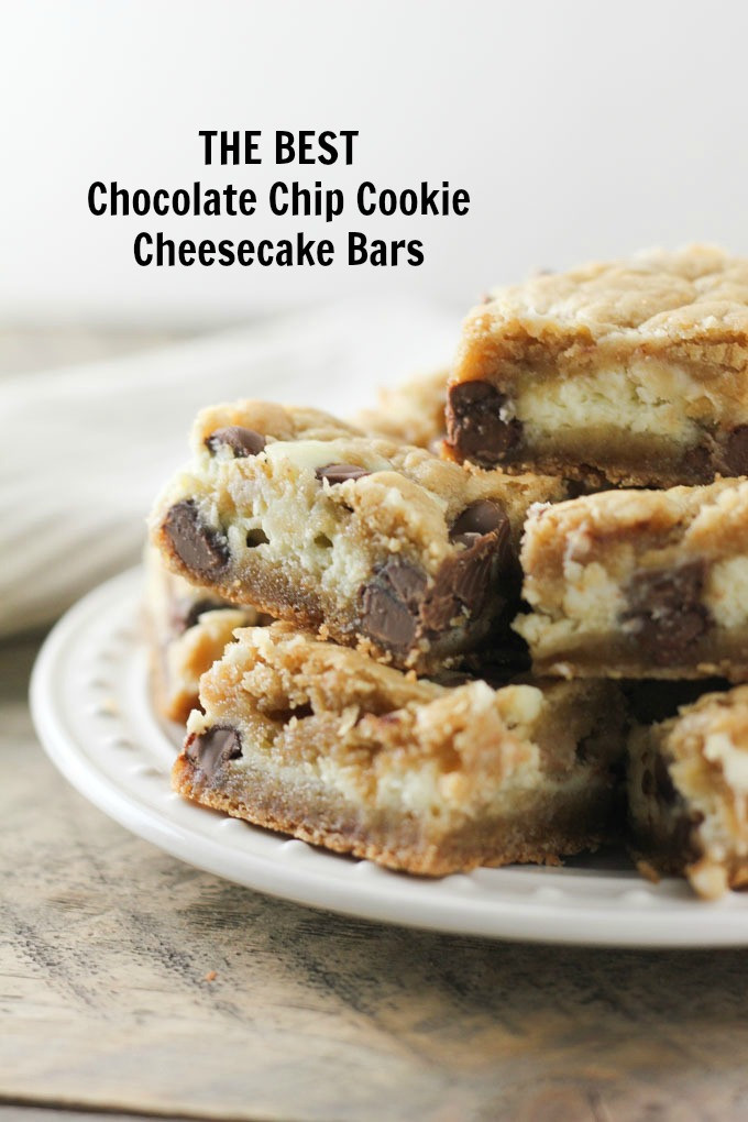 Chocolate Chip Cookie Cheesecake Bars text