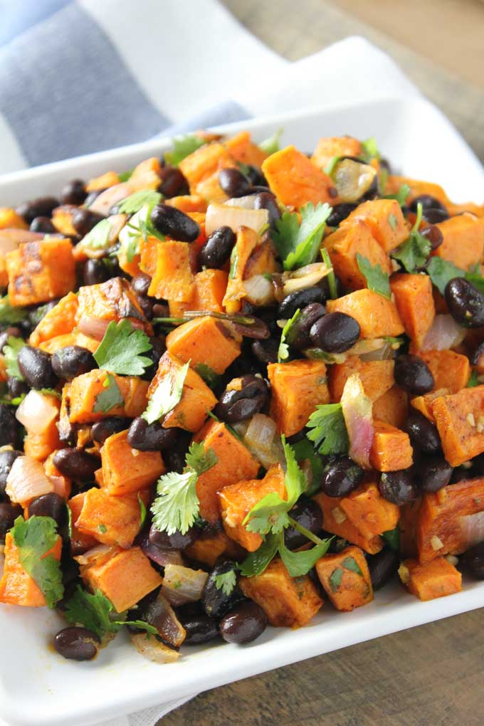 Black Bean Sweet Potato Salad -- an easy, flavorful salad. A great meatless meal or side dish! | bakedinaz.com