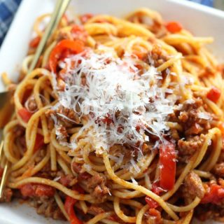 Spaghetti with Sausage and Red Peppers (30-Minute Supper)