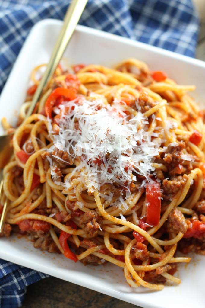 Spaghetti Sausage & Red Peppers