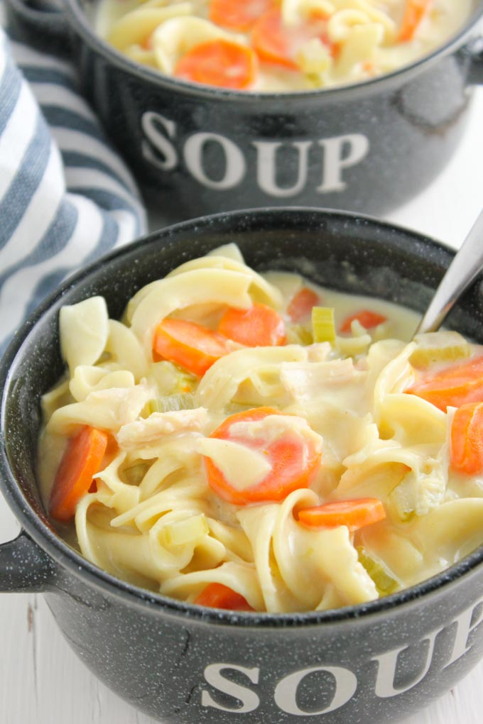 Easy Creamy Chicken Noodle Soup-3
