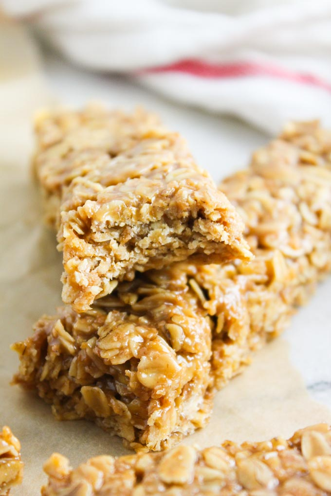No Bake Chewy Butterscotch Granola Bars | Baked in AZ