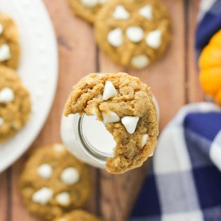 Chewy Pumpkin Oatmeal White Chocolate Chip Cookies