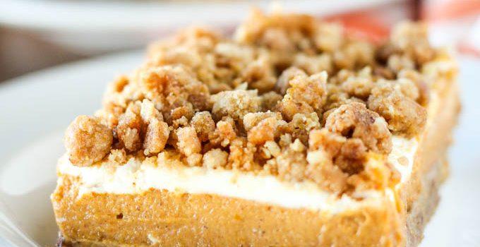 Pumpkin Cheesecake Crumble Bars