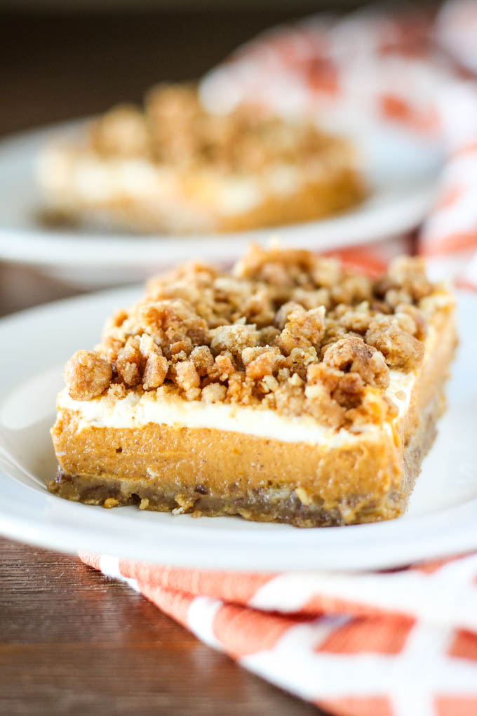 Pumpkin Cheesecake Crumble Bars | Baked in AZ