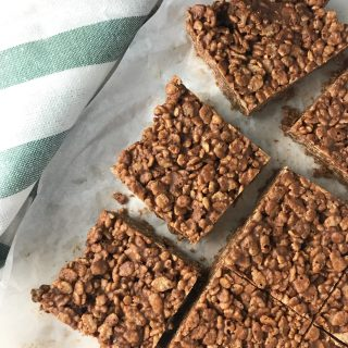 Chocolate Peanut Butter Rice Crispy Treats (No Bake)