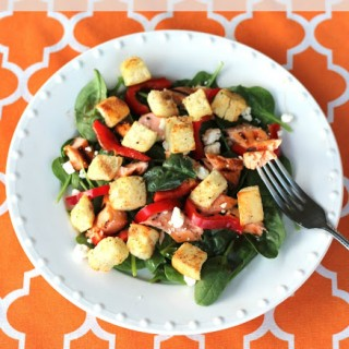 Grilled Salmon Salad with Homemade Croutons