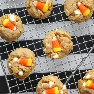 Peanut Butter White Chocolate {Candy Corn} Cookies