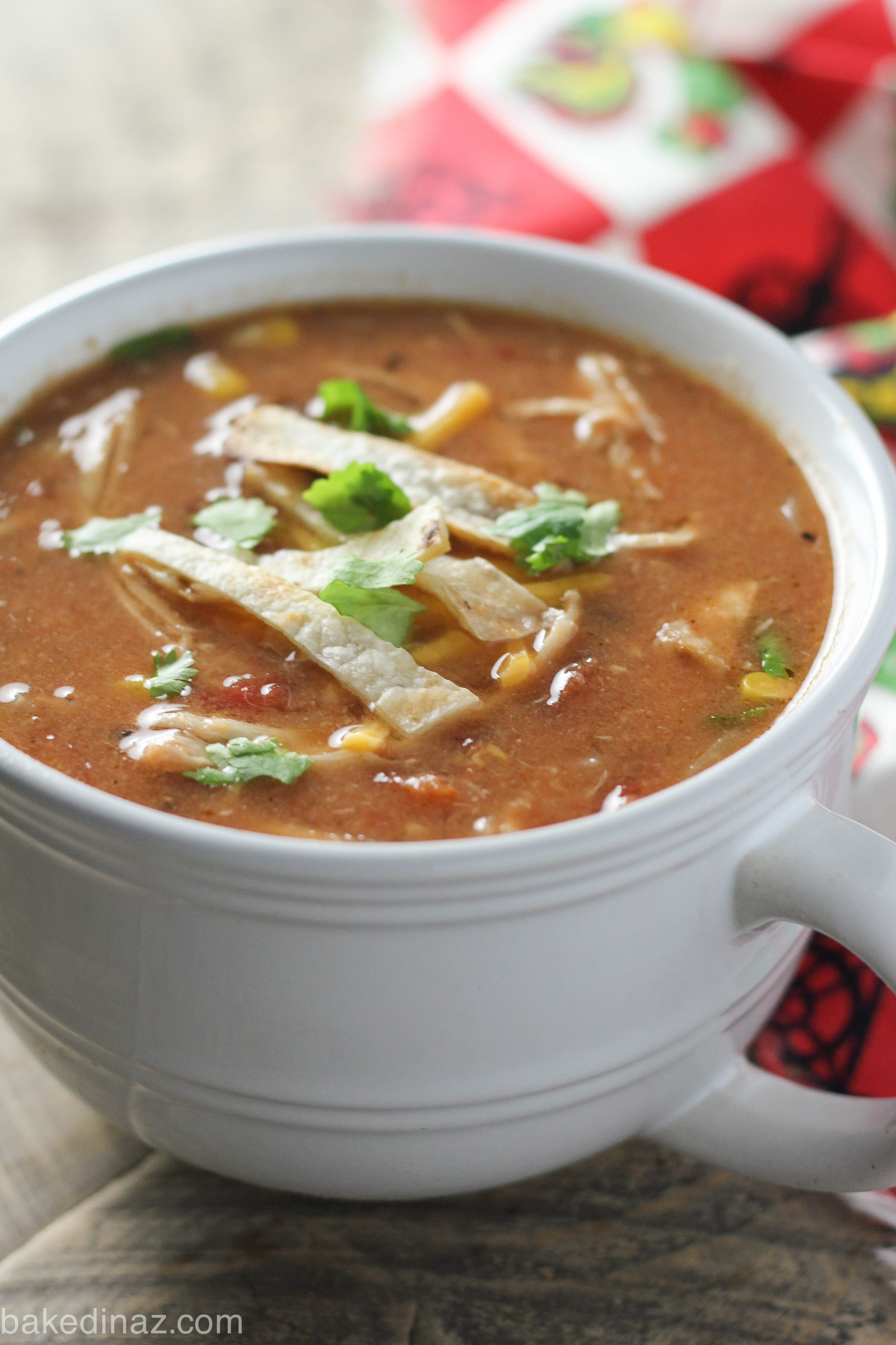 Light Creamy Chicken Tortilla Soup Baked In Az