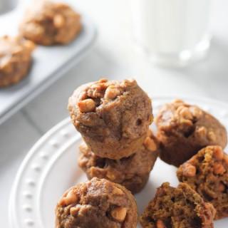 Pumpkin Butterscotch Oat Mini Muffins