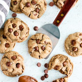 Salted Nutella Chocolate Chip Cookies